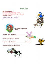 English Worksheets: Animal Houses