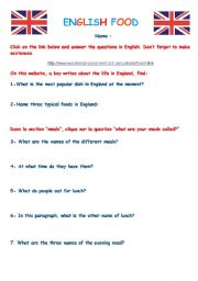 English Worksheet: Webquest English food