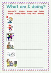 English Worksheets: What am I doing?