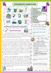 English Worksheets: Internet  services
