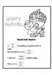 English Worksheet: An easter card with a little exercise