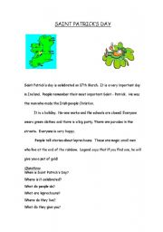 English Worksheets: Saint Ptricks Day