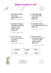 English Worksheets: What animal is it?