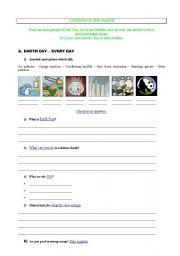 English Worksheet: Webquest environment-pollution-vanishing species-rainforest