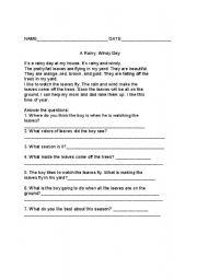 English Worksheets: A Rainy Day