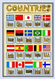 English Worksheet: WHERE ARE YOU FROM? COUNTRIES FLAGS PICTIONARY or POSTER