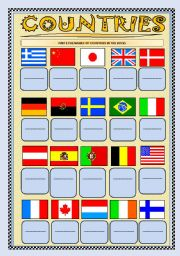 English Worksheet: WHERE ARE YOU FROM? COUNTRIES FLAGS EXERCISE
