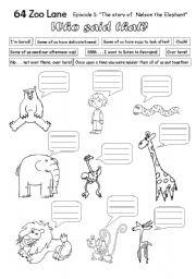 English Worksheets: 64 Zoo Lane - episode 1 Nelson the Elephant