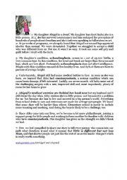 English Worksheet:  dealing with dwarfism comprehensive test number 1 - 3rd form arts