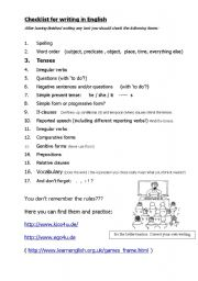 English Worksheets: Checklist for Writing in English