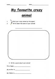 English Worksheets: My favourite crazy animal