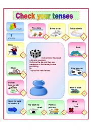 English Worksheet: A game check your tenses