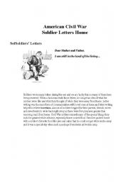English Worksheet: Example of A Letter from a soldire in the Civil War