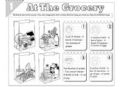 English Worksheet: At The Grocery: Food quantity (2-pages)