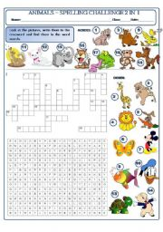 English Worksheet: ANIMALS - SPELLING CHALLENGE 2 IN 1