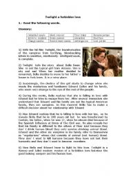English Worksheet: Twilight a forbidden love