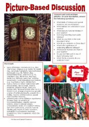 English Worksheet: Picture-Based Discussion (39): Holidays and Special Occasions