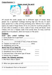Homes Around The World Esl Worksheet By Dearbaby