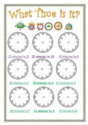 English Worksheet: What time is it? - Minutes to the hour
