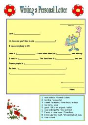 English worksheets Writing a Personal Letter