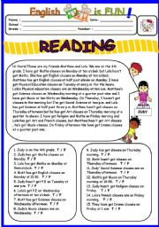 English Worksheet: Reading on Schedule and Telling the time