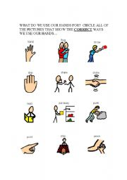 English Worksheets: Appropriate use of hands