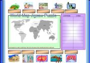 English Worksheet: Jigsaw World Map Puzzle (Cut & Paste) 2 pages =included the jigsaw pieces