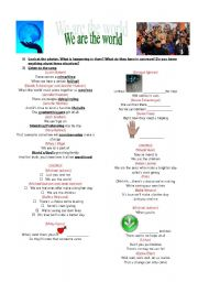 English Worksheet: �We are the world�