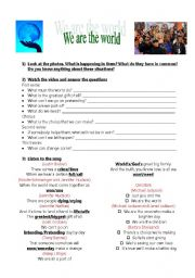 English Worksheets: �We are the world�