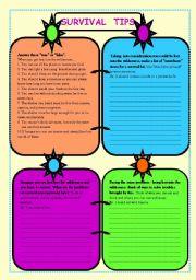 English Worksheets: Survival tips