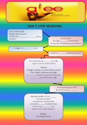 English Worksheet: Glee song - Don�t Stop Believing