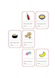 English worksheet: Food & Quantifiers_Some, a, an_ Cards game
