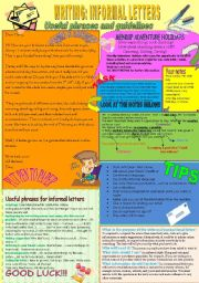 English Worksheet: Writing: Informal letters