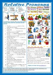 English Worksheet: Relative Pronouns(+ Key)