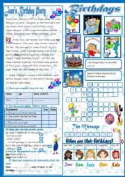 English Worksheets: Birthdays(+Key)