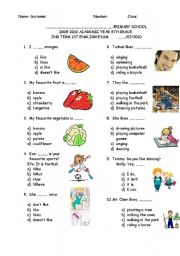 English Worksheet: 5TH GRADE SECOND TERM FIRST EXAM