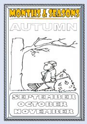 English Worksheet: MONTHS and SEASONS---AUTUMN COLORING PAGE (PART 1)