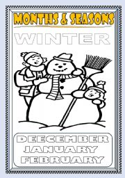 English Worksheet: MONTHS and SEASONS---WINTER  COLORING PAGE (PART 2)