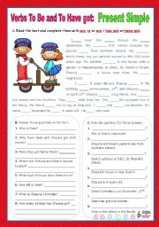 English Worksheet: Verbs to be and to have got - Simple Present - Affirmative, negative and Interrogative forms (7)
