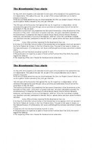 English Worksheets: The Bicentennial year starts