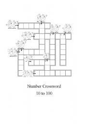 Number crossword 10 to 100