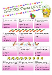 image regarding Easter Trivia Printable named Easter quiz worksheets