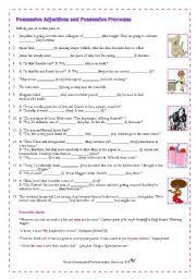 English Worksheet: Possessive Adjectives and Possessive Pronouns (Adult Learners)