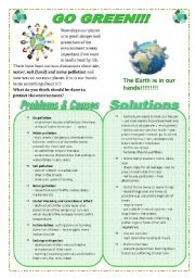 English Worksheet: Go Green!!! Help save our planet!!!