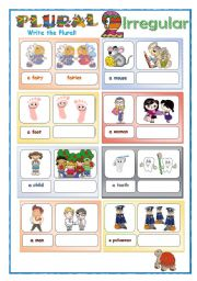 English Worksheet: Plural for kids part 2 - Irregular - 2 pages: Study sheet and practice