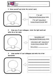 English Worksheets: eyes and hair description
