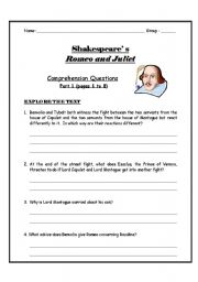 English Worksheets: Rome and Juliet Comprehension Questions