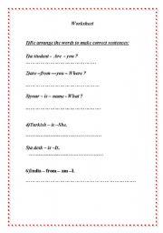 English Worksheets: reorder