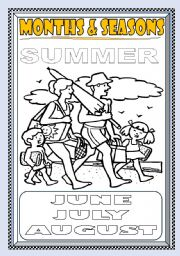 English Worksheet: MONTHS and SEASONS---SUMMER COLORING PAGE (PART 4)