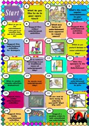 English Worksheet: Entertainment board game (2pages)/ 50 squares